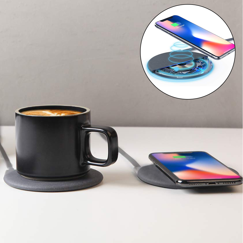 Qi 24W Wireless Charger Warming Cup 10W Fast Charging Set for iPhone Xs Max X 8 Samsung Smartphone for Coffee Milk Tea Qi 24W Wireless Charger Warming Cup 10W Fast Charging Set for iPhone Xs Max X 8 Samsung Smartphone for Coffee Milk Tea
