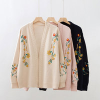 HEE GRAND Women Sweaters Winter 2018 Autumn Knitted Cardigans Embroidery Open Stitch Sweater Oversize Women Outwears WZL1479