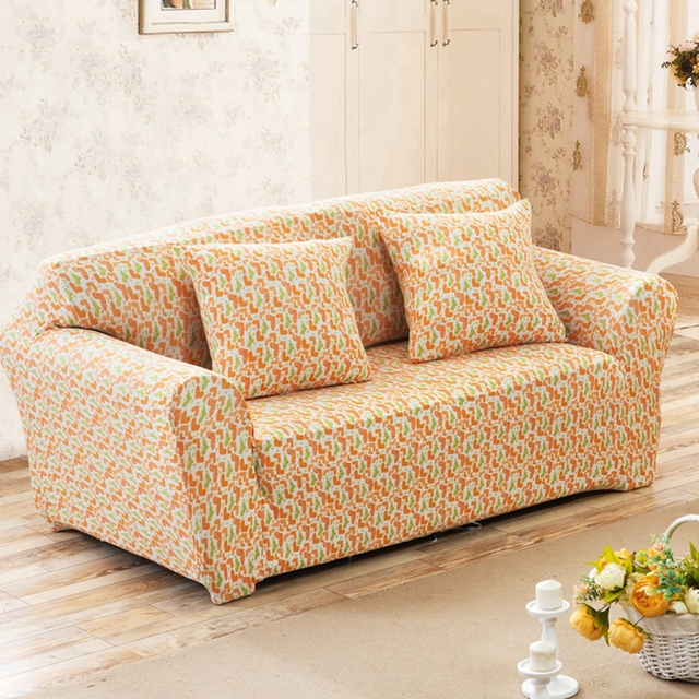 Orange Heart Pattern Couch Sofa Covers For Living Room Single Loveseat Corner Slipcovers Home