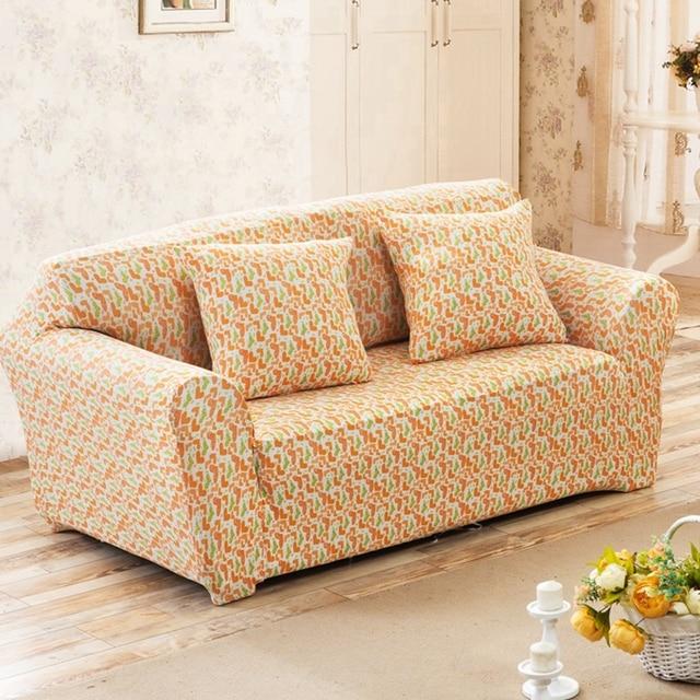 Orange Heart Pattern Couch Sofa Covers For Living Room Single Loveseat Corner Slipcovers Home