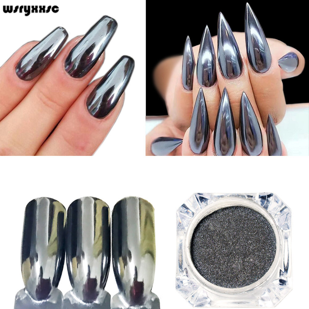 wsryxxsc 0.5G Mirror Black Nail Powder Smooth Chrome Pigment Glitter Dust Manicure born pretty mirror nail glitter pigment powder 1g gold blue purple dust manicure nail art glitter chrome powder decorations