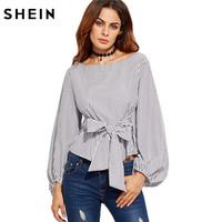 SheIn Women Blouses Black And White Striped Long Sleeve Womens Tops Ladies Shirts Autumn Bow Tie