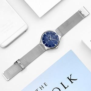 Image 5 - 2018 nouveau GUANQIN Top marque de luxe montres hommes daffaires chronographe maille sangle horloge hommes de mode en acier Quartz montre bracelet