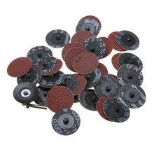 Для выведения токсинов, 40 шт 2 ''шлифовальный диск Pad 40/80/120/240 крупа шлифовальный станок шлифовального Бумага с оправки замок для абразивных инструментов