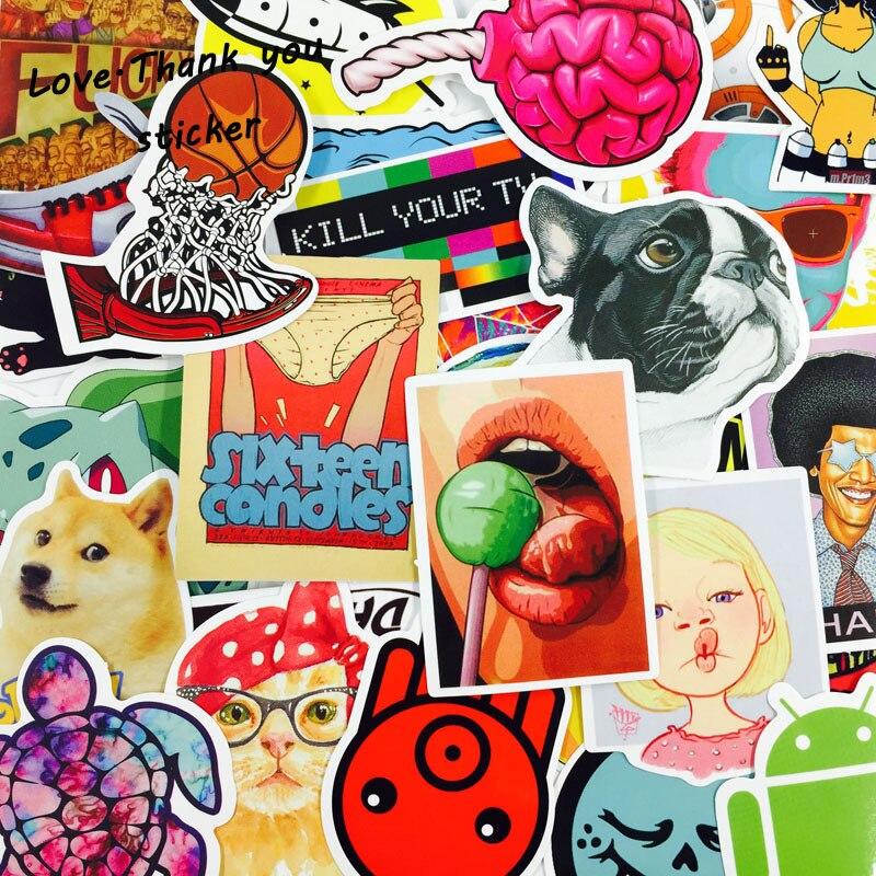 4000 pièces Mixte drôle ordinateur portable autocollants décor À La Maison sur autocollant pour ordinateur portable autocollant réfrigérateur planche à roulettes doodle jouet autocollants DHL/UPS/SHUNFENG
