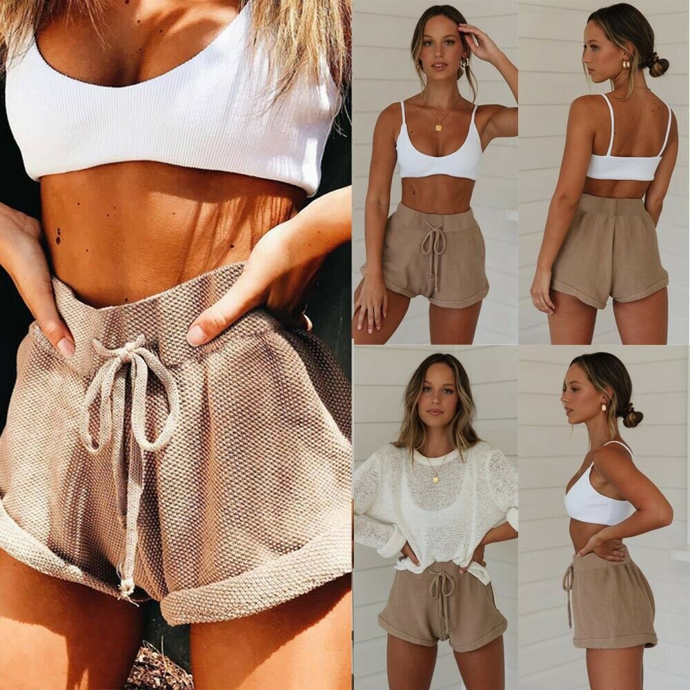 New Women Ladies Fashion Casual Summer Shorts Stylish Loose High Waist Solid Shorts Shorts Trousers