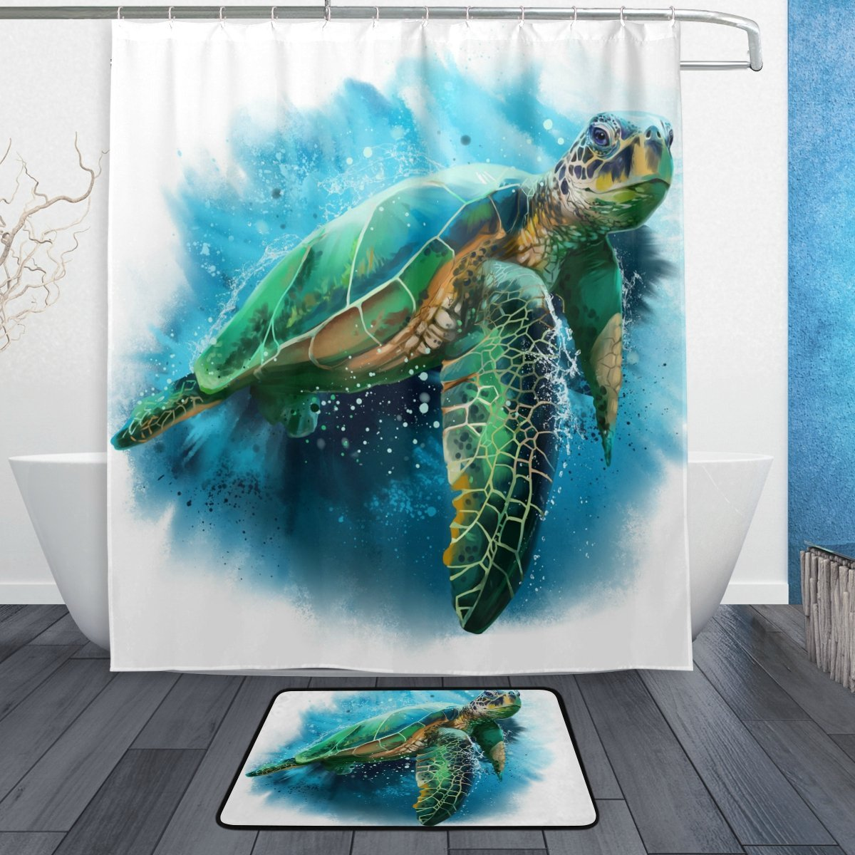 Us 15 35 36 Off Funny Ocean Sea Turtle Shower Curtain And Mat Set Marine Sea Animal Waterproof Fabric Bathroom Curtain In Shower Curtains From Home