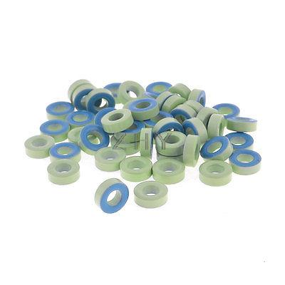 50Pcs Pale Green Blue Iron Core Power Inductor Ferrite Rings AT44-52 50pcs lh0406 221k 220uh 4 6mm radial leaded power inductor 4x6mm