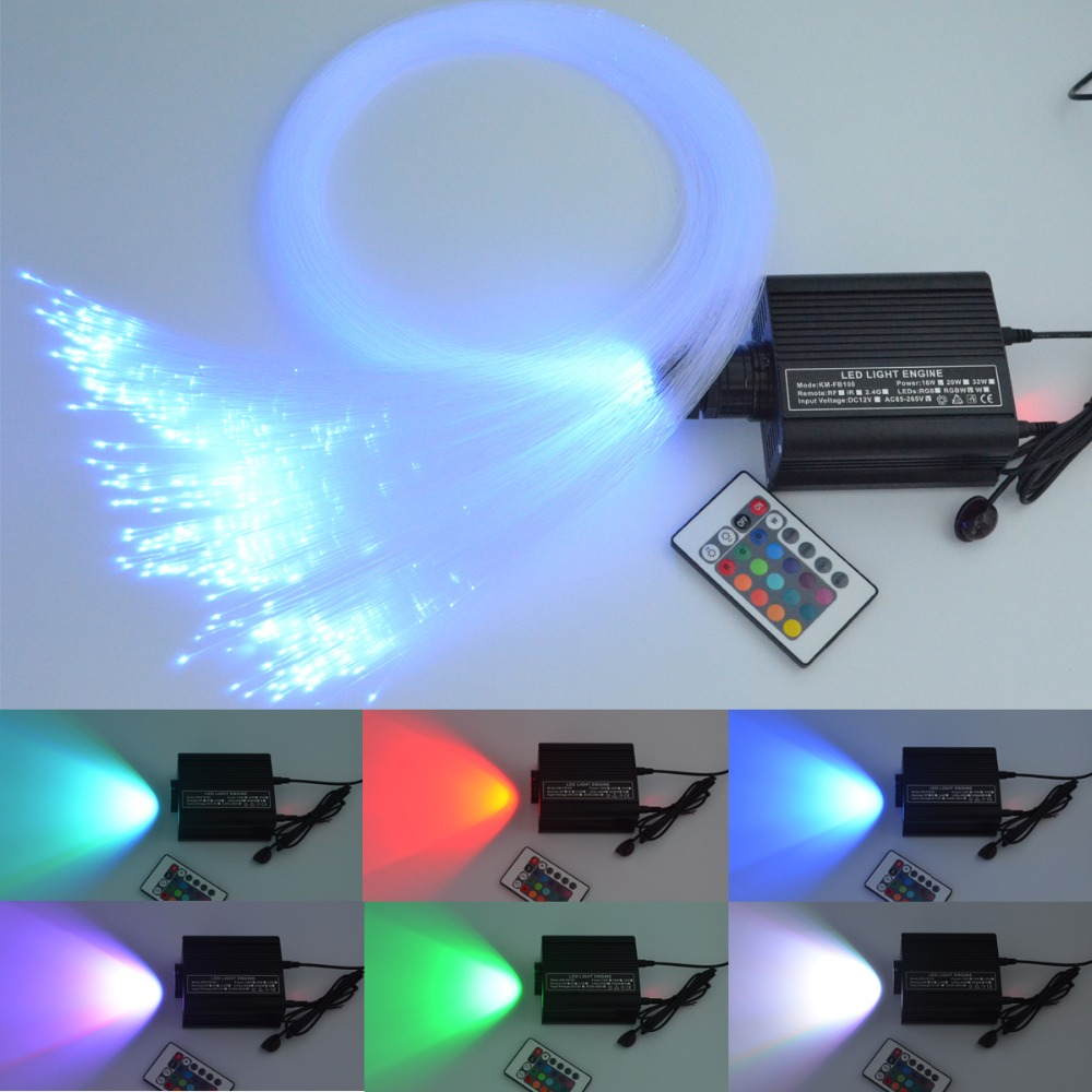 RGB colorful LED plastic Fiber Optic Star Ceiling Kit Light 150pcs 0.75mm 2M+16W RGB optical fiber Lights Engine+24key Remote 27w led rgb fiber optic illuminator with 24key ir remote and shooting star wheel ac100 240v input