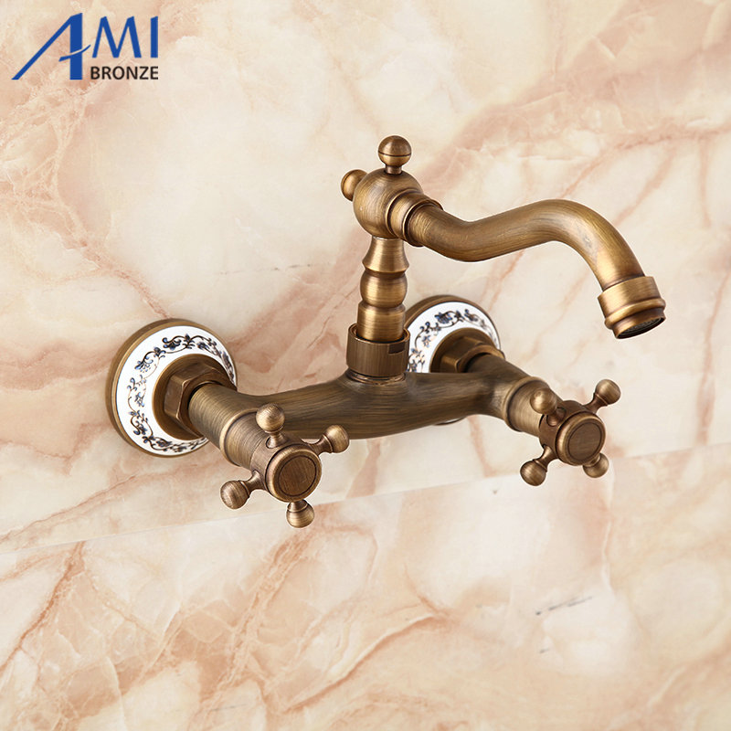 Wall Mounted Faucets Kitchen Swivel Faucet Bathroom Basin Brass Sink Crane Mixer Tap porcelain 9057AP 13 antique brass faucets swivel kitchen sink bathroom basin faucet mixer tap 9883a