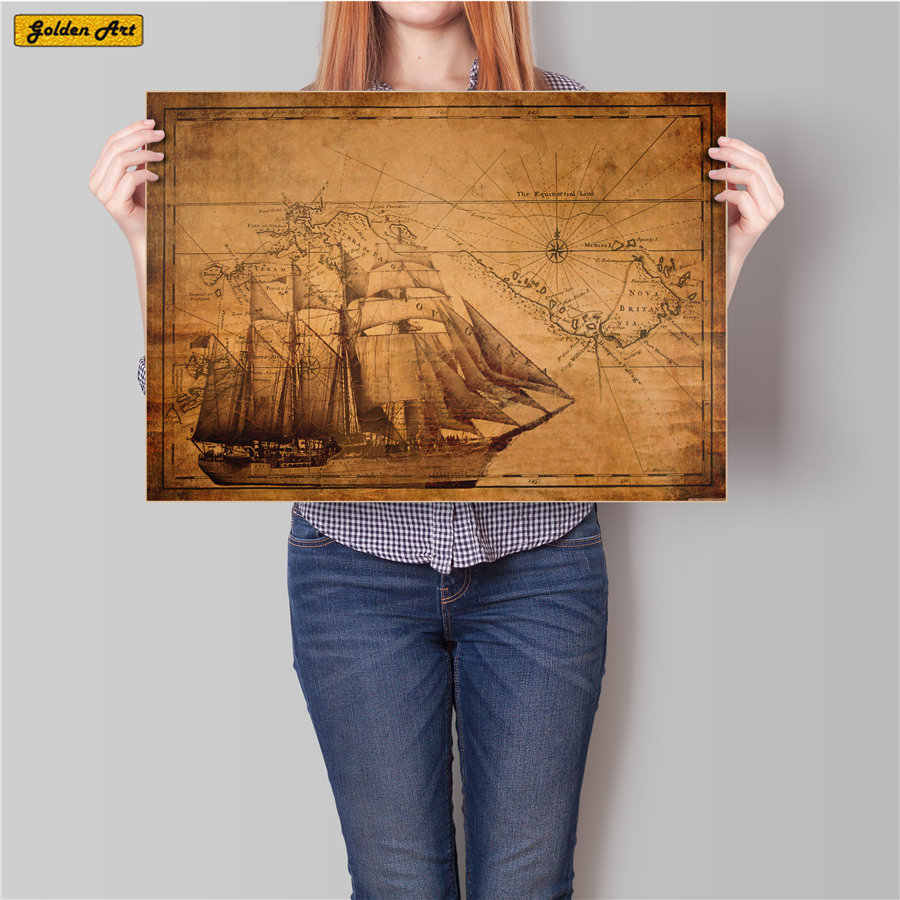 Vintage nautical map Vintage Paper Posters Drawing Retro Painting  Wall Stickers Living Room Home Decoration 45.5x31.5cm