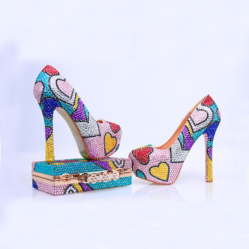 Rhinestone Prom Party Shoes With Clutch Handmade Wedding High Heel Multicolor Cinderella Pumps Matching Bag In Women S From On