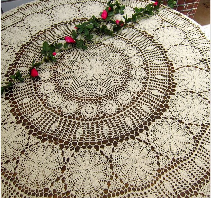 Christmas Decorations Handmade Crochet Flower Large Circular Tablecloth  Table Cloth Cotton Doilies Sofa Towel Bed Cover Cloth In Tablecloths From  Home ...