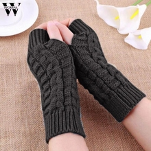 Фотография Winter Knitted Long Fingerless Gloves Mittens for Women Solid Color luvas feminina Amazing New Arrival