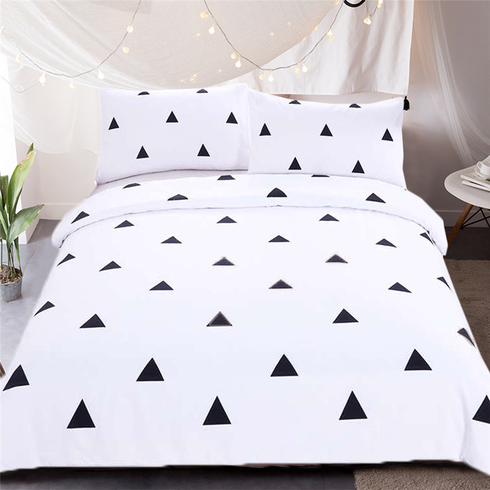 Black White Printing Geometric Pure White Duvet Cover Set Modern