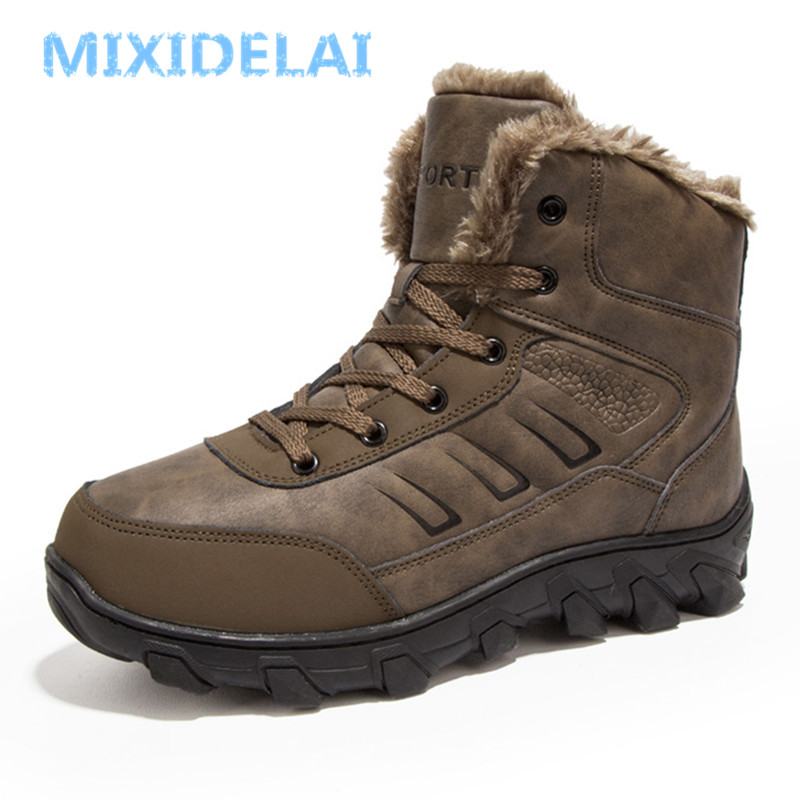 MIXIDELAI 2019 New Men Boots Winter Outdoor Sneakers Mens Snow Boots keep Warm Plush Boots Plush Ankle Snow Work Casual Shoes