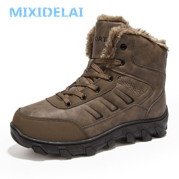 цена MIXIDELAI 2019 New Men Boots Winter Outdoor Sneakers Mens Snow Boots keep Warm Plush Boots Plush Ankle Snow Work Casual Shoes онлайн в 2017 году