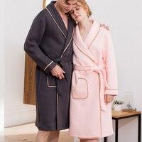 100 Cotton Couples Bathrobe Thick Flannel Bathrobe Winter Autumn Thickening Terry Women Robe Men Chinese Kimono