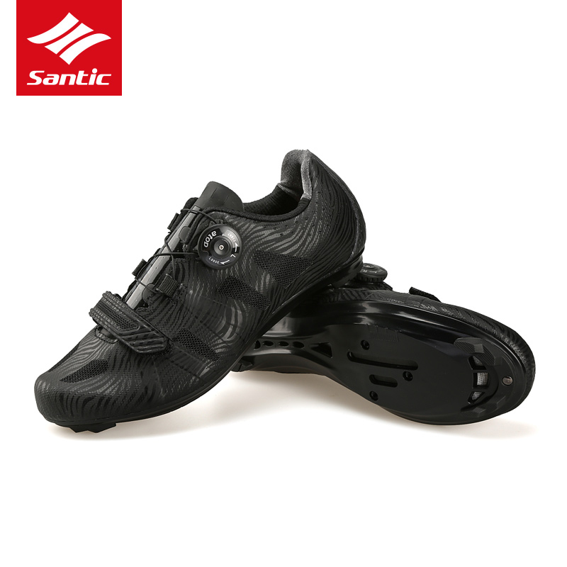 Santic Pro Men Cycling Road Shoes Nylon Sole Black Wearable TPU Bike Athletic Racing Shoes Breathable Self-Locking Bicycle Shoes santic men outdoor road cycling shoes nylon tpu sole bike shoes breathable self lock shoes ultralight bicycle shoes sapatos