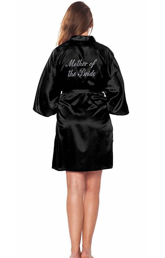 Mother of the Bride Robe on the Back Wedding Robe Silk Satin Kimono Robe Fashion Night Robe Short Dressing Gown For Women