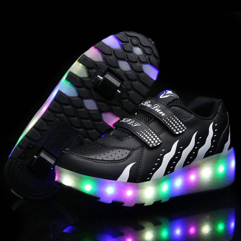 Roller Skate Casual Shoe LED Light Heelys Sneakers with Double TWO Wheel Boy Girl with Roller Girl Zapatillas Zapatos Con Ruedas girls and ladies favorite white roller skates with full grain genuine leather dual lane roller skate shoes for adult skating
