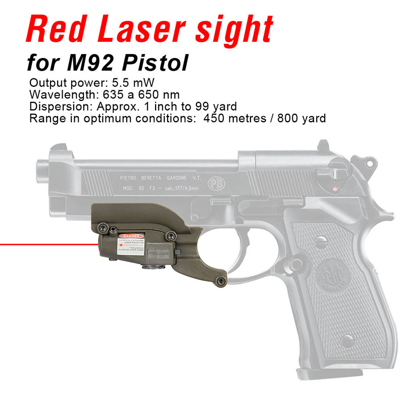 Laser-Aim-Pointer Pistol Red Laser Sight Hunting For M92 With Lateral Grooves GZ20-0020