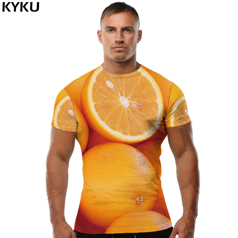 KYKU Orange   T     shirt   Fruit Clothes Yellow Tops   shirts   Tees Tshirt Men Man Sexy Ftness O-Neck 3d   t     shirt