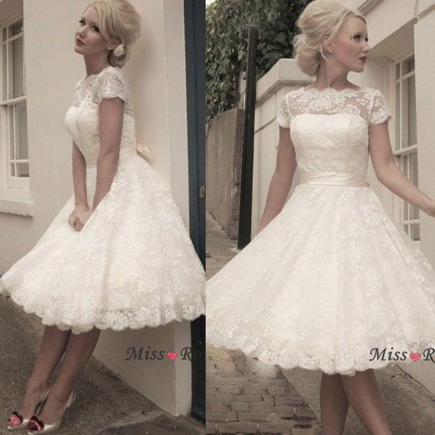 Stock Boat Neck Sash Knee Length Short Sleeve 50s Vintage Lace Wedding Dress In Dresses From Weddings Events On Aliexpress