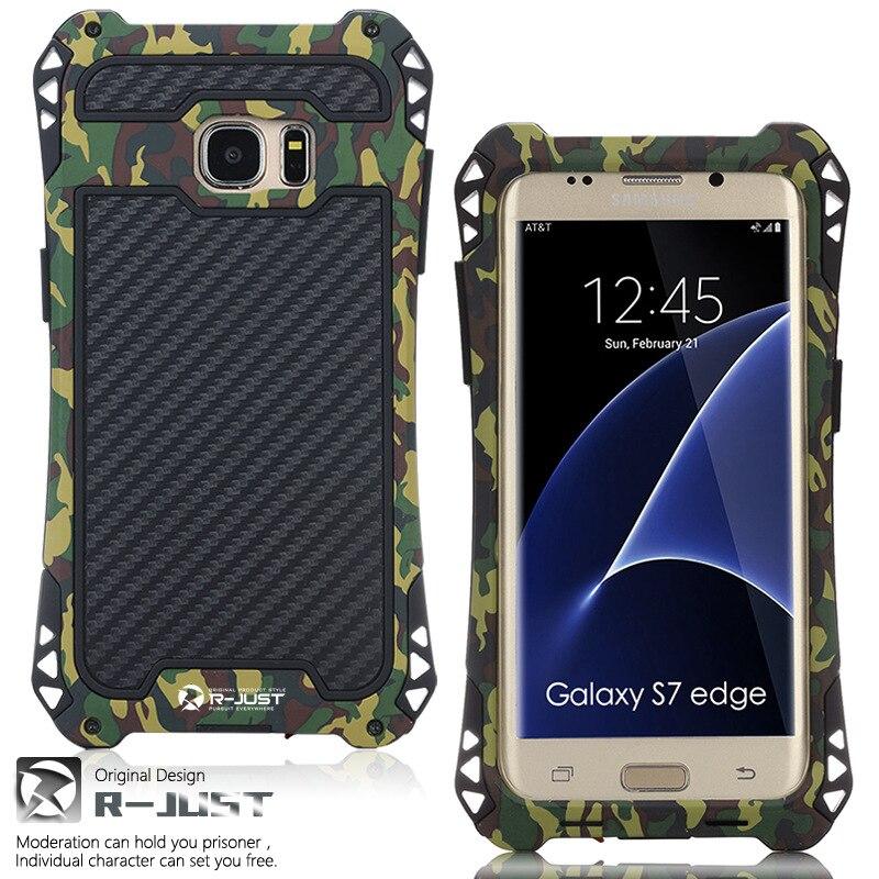imágenes para R-JUST Para Galaxy S8 S8 Plus Caja de la Armadura de Fibra de Carbono de Metal A Prueba de Polvo A Prueba de Golpes Para Samsung S7 borde