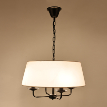 Painted Led Chandelier LED American Style Pendant lamp 4 Lamp Arms Fabric shade ceiling lamp for Living Room Bedroom