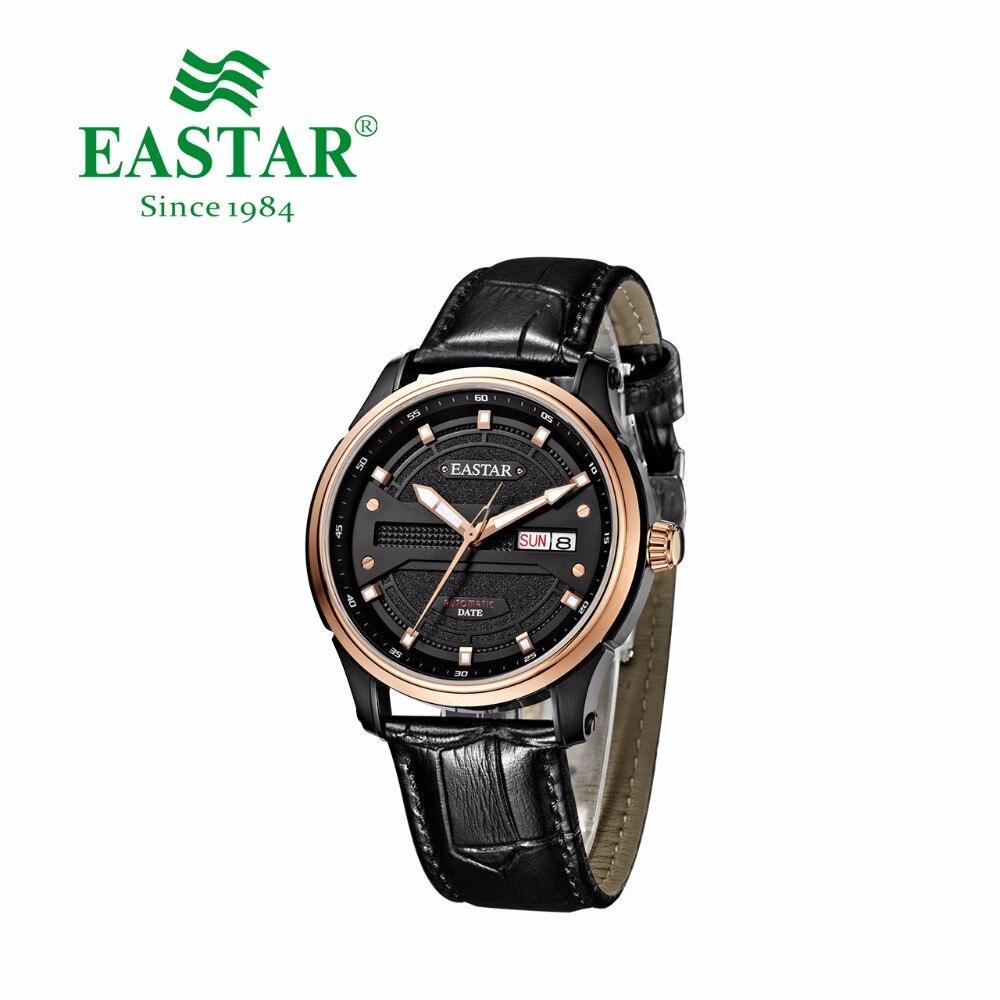 Eastar Black Automatic Mechanical Watch Men Business Leather Brand Calendar Ceramics Case 30M Waterproof Wrist Watch Male Clock