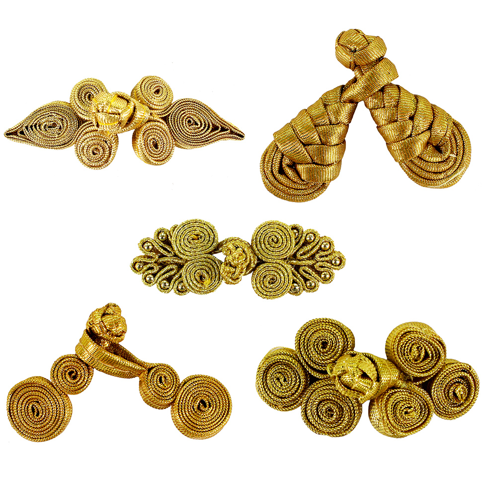 100set Gold Metallic Cord Braided Looped Fastener Closure Knot Buttons Sewing For Hotel Chair Cover Traditional