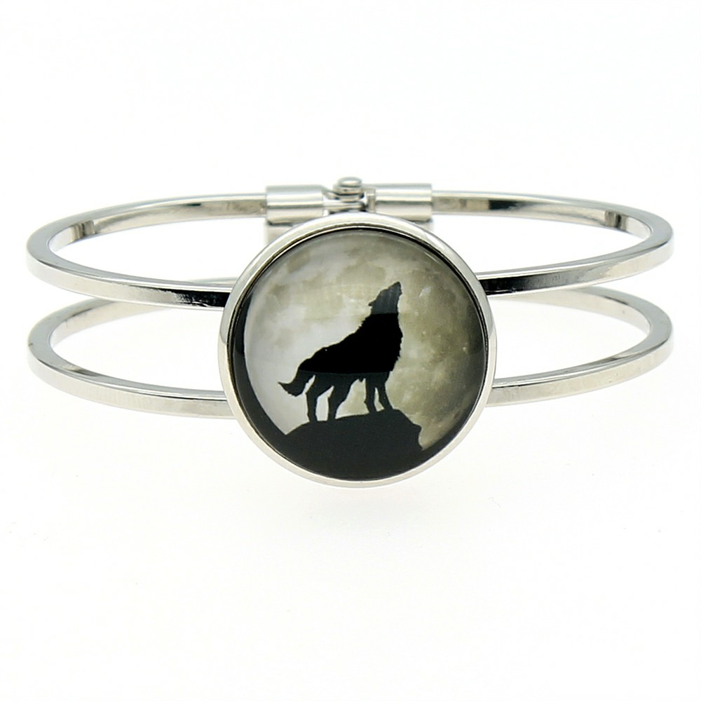 Howling Wolf Photo 25mm Glass Cabochon Bangle For Women High Quality Jewelry Dropshipping 2019 Fashion