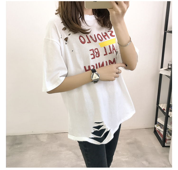 XL- 4XL 2019 new plus size summer loose High Street hole Letter print short sleeve O-Neck women T-shirt top tee TY5 20