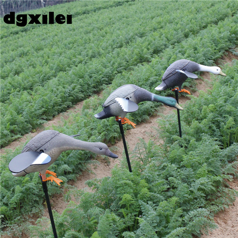 2017 Xilei Free Shipping Dc 6V Hunt Ducks Animal Bait Decoys For Duck Hunting With Spinning Wings 2017 xilei ducks caller mallard duck decoys call decoy wooden russian wild ducks hunting with spinning wings