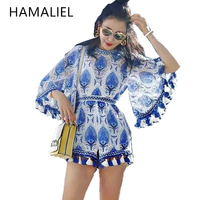 HAMALIEL 2017 Boho Blue White Embroidery Elegant Jumpsuit Romper Summer Sexy Flare Sleeve Women Playsuit Beach