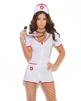 High Quality Hot Sexy Nurse Uniform Temptation Sexy V-Neck With Zipper Nurse Costumes Set Holloween Cosplay Costume One Size