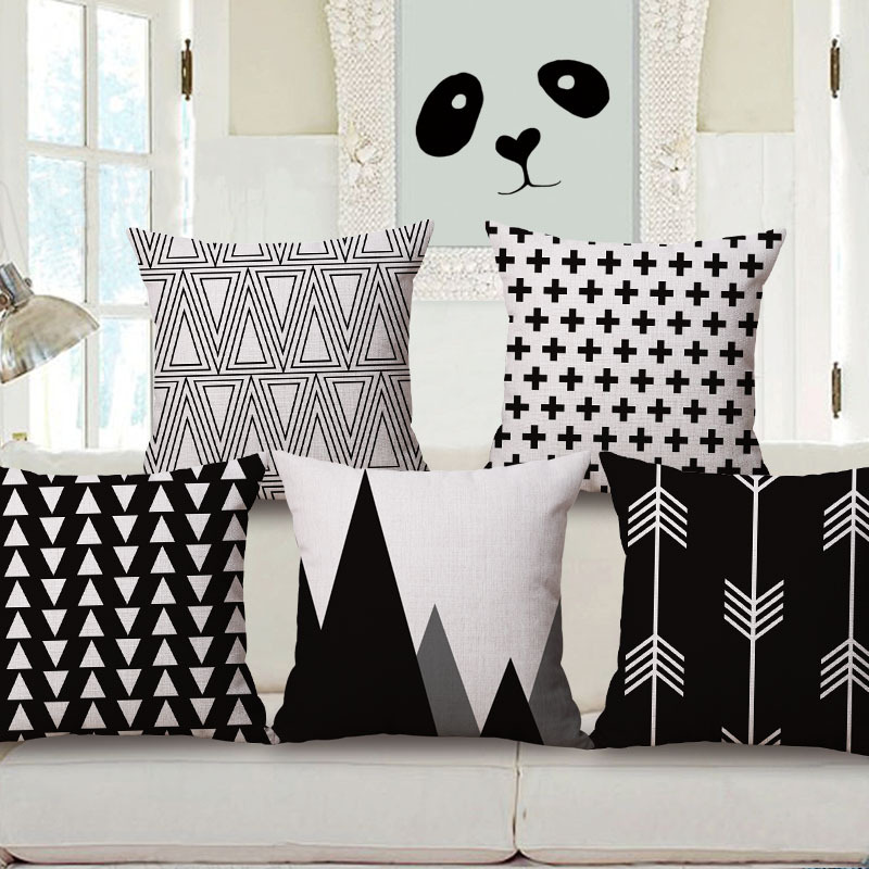 Black and white (not snow white) geometric square pillow case cover cotton linen cushion cover for sofa car home cojines 45x45