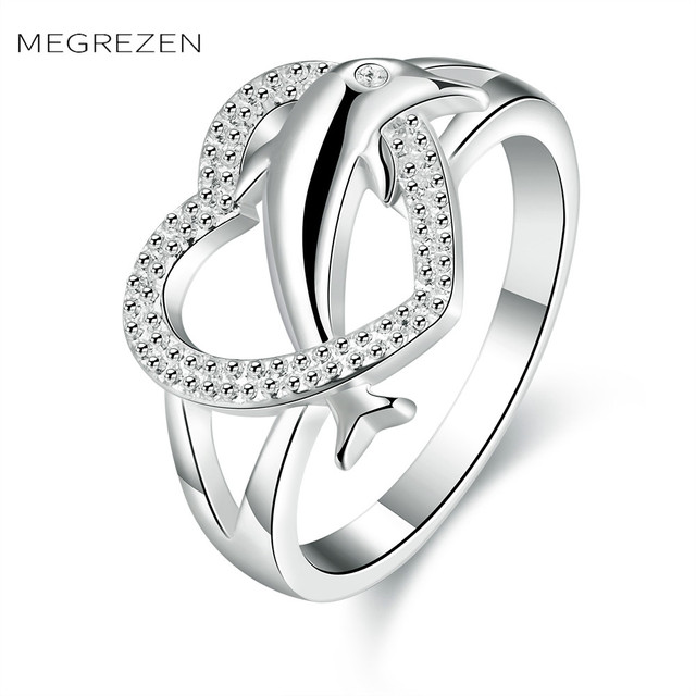 Heart Animal Ring Crystal Love Wedding Rings Design With Stones