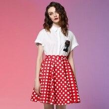 JUNGLE ME 2017 Spring New High Waist A Line Umbrella Skirt Short Sleeved White Shirt Print Polka Dot Two Piece Suit Women's Sets