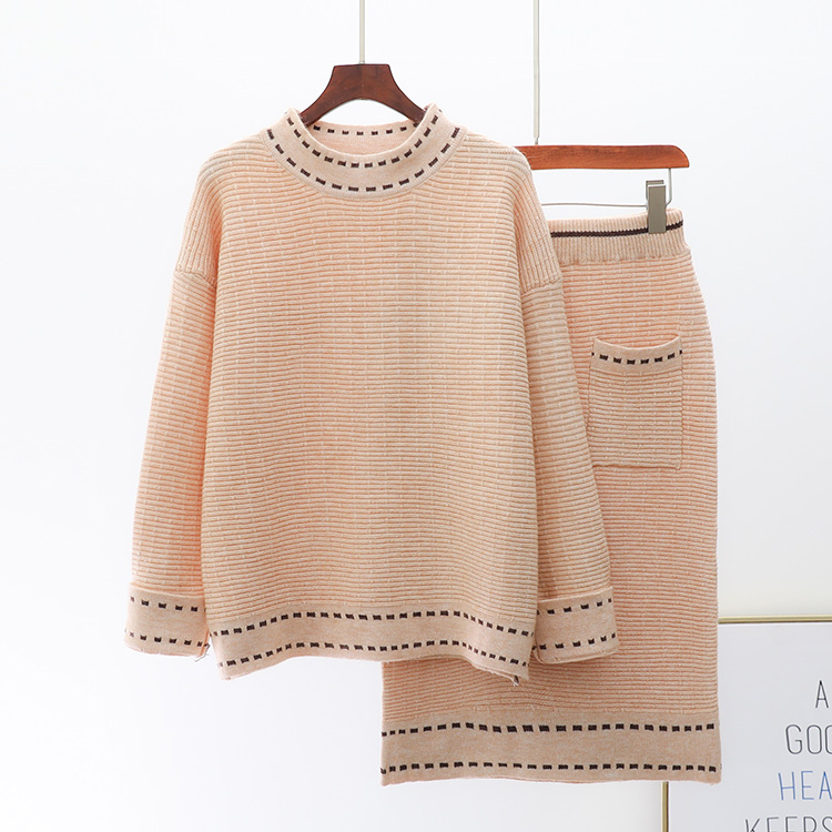Mode femmes tricot jupe costume 2018 hiver lâche épaissi pull + taille haute tricoté jupes deux pièces femme tissu tricot ensemble
