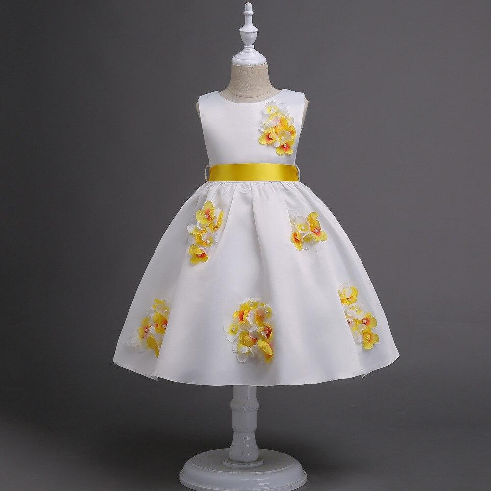 New Designer Kids Brand Children Party Dresses Sleeveless Kawaii 3d Floral Beach Wedding Flower Girl 2017 Yellow Dress