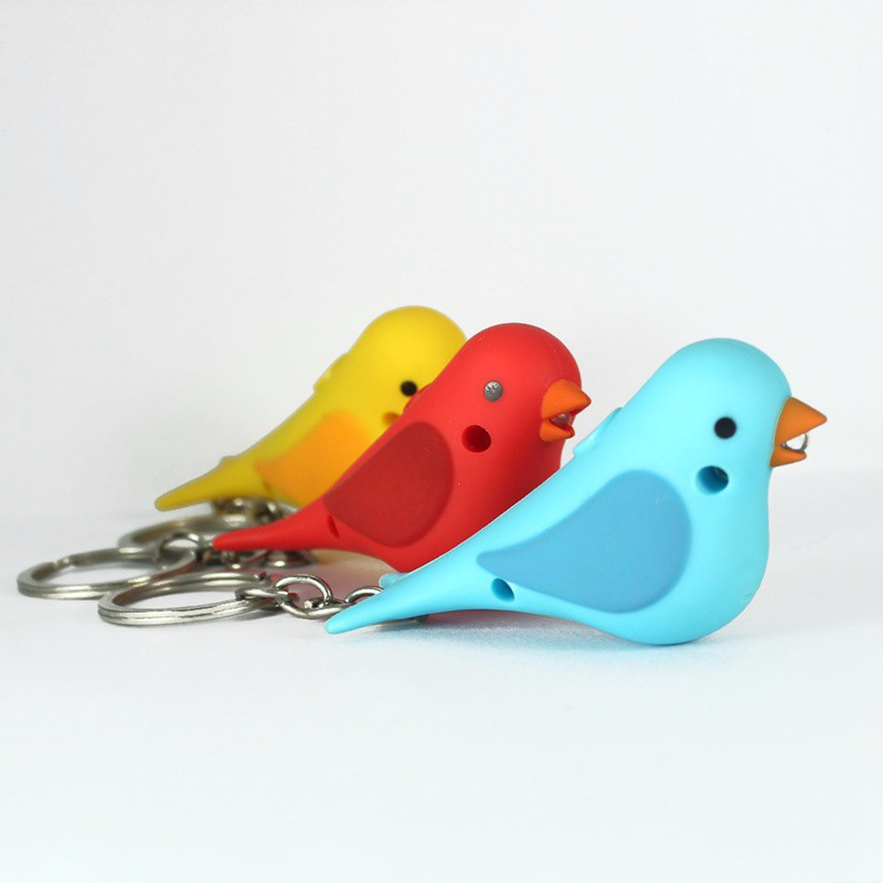 The new bird LED sound light keychains Creative cartoon Flashlight small gifts for kids toys 3 color mix order wholesale