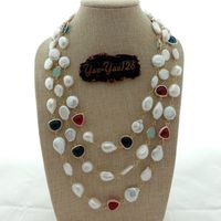 20 3 Rows White Baroque Pearl Coin Pearl Crystal Necklace