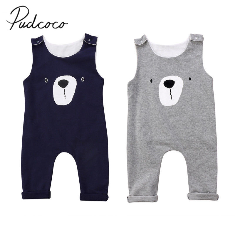2017 Brand New Newborn Toddler Infant Baby Boy Girls Clothes Bear Romper Playsuit Jumpsuit Sleeveless Cartoon Outfit Set 0-24M