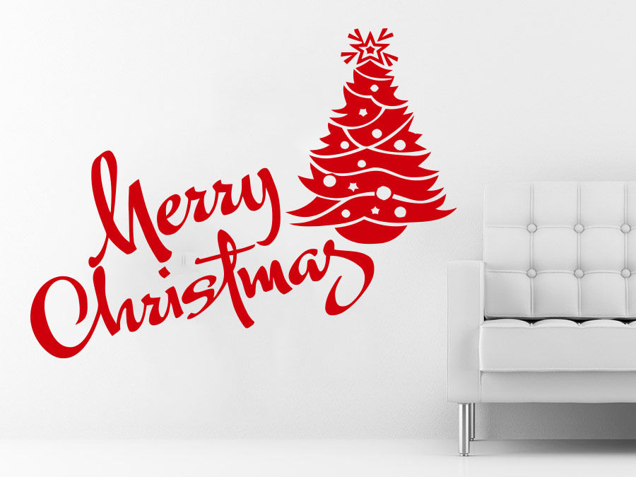 Merry Christmas Quote Wall Art Decal: Newest Christmas Fire Red Tree Wall Sticker Vinyl Decals