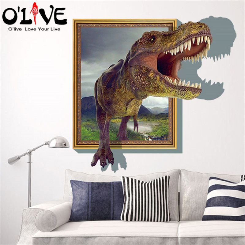 3d Wall Stickers Dinosaur Wall Decals Anime Posters Kids Childrenu0027s Wall  Sticker DIY Mural Wallpaper Home