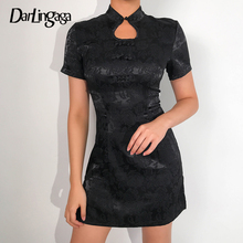 Darlingaga Chinese Style Jacquard Vintage Black Dress Women Embroidery Cheongsam Summer Dress Fashion Mini Dresses Sundress 2020