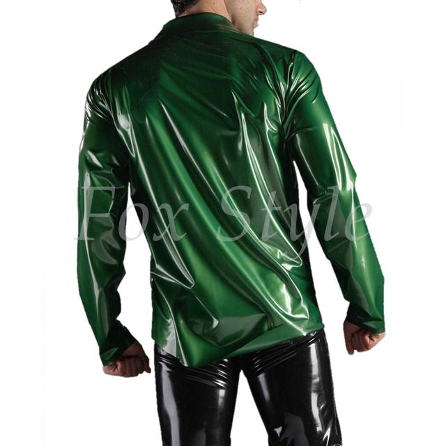 Hot sale men's latex shirt in metallic color