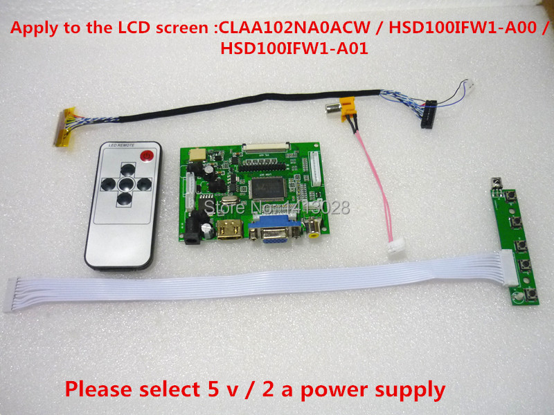 HDMI + 2AV+ VGA LCD Driver Controller Board Kit For Panel CLAA102NA0ACW / HSD100IFW1-A00 /HSD100IFW1-A01 1024*600